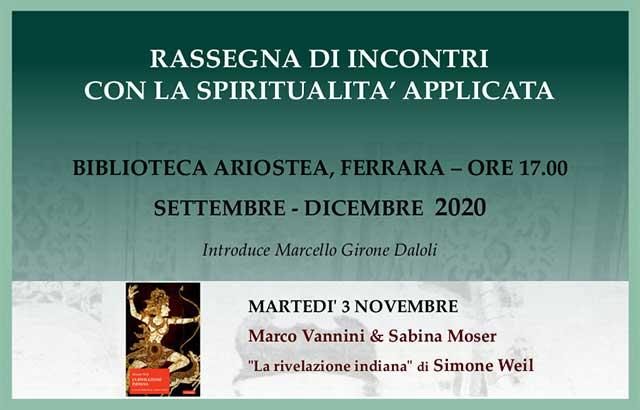 """Locandina """"La rivelazione indiana di Simone Weil"""""""