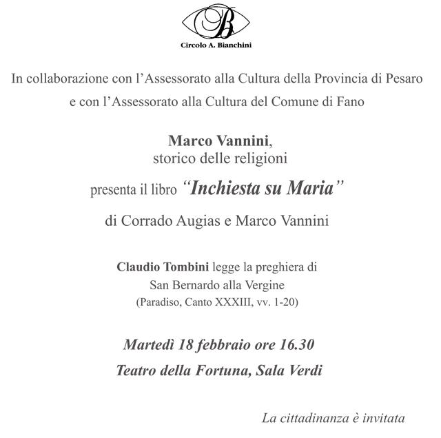 "Pesaro: Vannini presenta ""Inchiesta su Maria"""